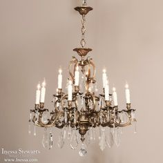 Antique Lighting | Antique Chandeliers | Rococo Brass Chandelier | www.inessa.com