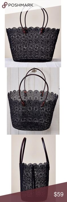 "Daisy Lace Tote Fabulous black crochet daisy lace woven tote bag. A perfect addition to your summer wardrobe. Such a versatile piece. Carry it to the beach, carry it to the gym, great as a catch all tote for running errrands too. Go girly and wear it on date night.  Coated floral crochet lace tote bag with scallop finish and vegan leather straps details. 70% POLYESTER, 30% RESIN                                                          Width 18"" Depth 11"" Strap Drop 8"" Love Stitch  Bags"