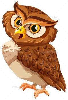 Buy Brown Owl by BlueRingMedia on GraphicRiver. Brown owl on a white background Owl Vector, Cartoon Birds, Rock Painting Designs, Owl Crafts, Owl Bird, Vector Design, Wood Art, Painted Rocks, Creatures