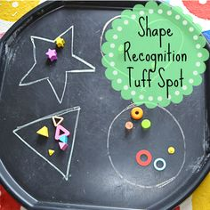 The Natural Momma in Me: Shape recognition tuff spot Maths Eyfs, Numeracy Activities, Eyfs Classroom, Infant Activities, Preschool Math, Kindergarten, Nursery Activities Eyfs, Shape Activities, Children Activities