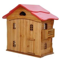 Wooden Doll House, Red Roof - Honeybee Toys