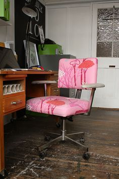 Studio Tour: Dear Colleen Love the color Diy Chair, Chair Fabric, Best Office Chair, Office Chairs, Office Decor, Cool Chairs, Home Projects, Upholstery, Bright Office