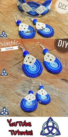 Macrame Earrings Blue Waves Tutorial - Easy Macramé Design #MacrameEarrings #Tutorial #MacrameEasy #MacrameCraft #Craft #Pattern #MacrameMagicKnots #Howtomakeearrings #BlueEarrings #Spring #Sammer #Wavy #Diy #Celtic #EarringsCeltic Macrame Earrings Tutorial, Micro Macrame Tutorial, Earring Tutorial, Macrame Knots, Macrame Bracelets, How To Make Earrings, Diy Earrings, Diy Bracelets Easy, Micro Macramé
