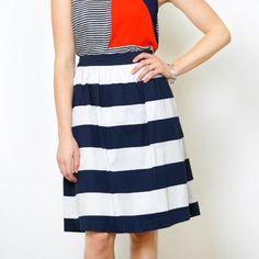 Mikarose A-Line Skirt With Pockets Brand new navy and white striped A-line skirt.  Outfit possibilities are endless with this versatile closet must-have.  Hem hits just below knee. Skirts A-Line or Full