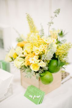 green & yellow flowers at cream event nyc