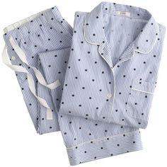 J.Crew Vintage pajama set in dotted stripe ($98) found on Polyvore