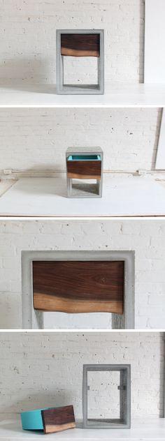 mesa de luz en mdf concreto y madera olivo
