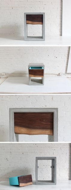This nightstand was also casted with concrete in a mold made from LEGO bricks. The piece of walnut that was used to make the shelf was a found object in a backyard. Check out the website for the full instructions and material list! http://www.homemade-modern.com/ep56-concrete-walnut-nightstand/