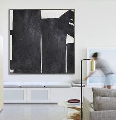 Hand Painted minimal art on canvas, minimalist painting, black and white geometrical art from CZ ART DESIGN. Great choice for a neutral home and modern interiors @CeilneZiangArt