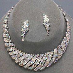 Elegant Ab Clear Rhinestone Collar Silver Necklace Earrings Jewelry Set