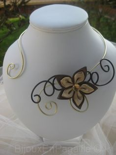 COLLIER MARIAGE mariage fleur satin chocolat doré BIJOUX MARIAGE                                                                                                                                                     Plus