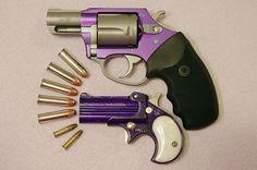 "Purple Cobra Derringer with pearl grips & ""Lavender Lady"" Charter Arms special revolver Saints Row, Aphrodite, Purple Gun, Purple Haze, Poseidon, Custom Glock, Custom Guns, Big Girl Toys, By Any Means Necessary"