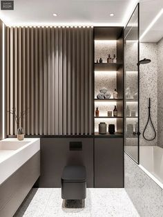 Top Amazing Black Modern Bathroom Interior Design Secrets RoomSketcher Home Designer is stuffed with loads of great features to fulfill your house des. Bathroom Design Luxury, Washroom Design, Bathroom Layout, Best Interior Design, Interior Modern, Interior Ideas, Modern House Design, Bathroom Inspiration, Cool Bathroom Ideas