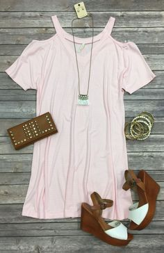 Striped Cold Shoulder Tunic Dress: Pink/White from privityboutique