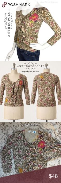 Anthropologie {Sparrow} floral ruffle cardigan Pretty Anthropologie print cardigan by Sparrow with button front closure and appliqué flowers on front. 3/4 sleeves. Retailed at $128. Preloved with light wear and some piling (but is disguised well in print). Still in good condition, smoke free home. Size small but fits like an xs. Shown on size 2 mannequin. Ask if you need measurements. Please read my recently updated bio regarding closet policies prior to any inquiries. Anthropologie Sweaters…