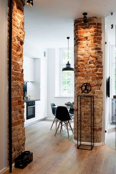 Amazing Home Stone Interior Design Ideas – Decor Salon Maison - Hollowen Brick Interior, Interior Design Kitchen, Interior And Exterior, Interior Decorating, Loft Design, Design Case, Industrial House, Exposed Brick, Home Decor Bedroom