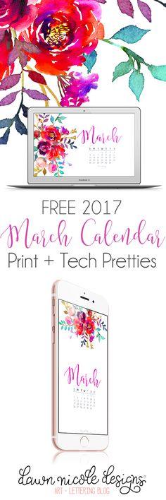 Free Printable March 2017 Calendar + Tech Pretties from Dawn Nicole Designs