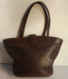 Vintage Chocolate  Brown Thick Supple  Leather Tote / Large Handbag Fully Lined