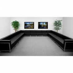 Flash Furniture HERCULES Imagination Series U-Shape Sectional Configuration [ZB-IMAG-U-SECT-SET3-GG] SKU: ZB-IMAG-U-SECT-SET3-GG Contemporary Reception Area Set Add on pieces as your business grows Modular design makes re-configuring easy with endless possibilities Features: Black Leather Upholstery Smooth Back and Tufted Seat Design Taut Seat and Back Fixed Seat and Back Cushion Foam Filled Cushions Straight Arm Design Availability: 1 Color(s) Available Pricing: $4289.99