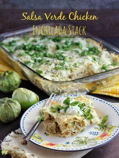 Salsa Verde Chicken Enchilada Stack | EricasRecipes.com