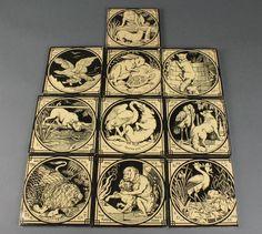 A set of ten Minton square tiles depicting Aesop's Fables 6'