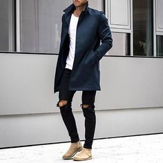 fall is upon us // menswear, mens style, fashion, black denim, topcoat, tshirt, fall
