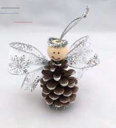 Ready to Ship Angel Pine Cone Ornament by SilverMoonBathandSpaAdorable with pitch pine cones Pine Cone Christmas Decorations, Pinecone Ornaments, Christmas Ornament Crafts, Angel Ornaments, Christmas Crafts For Kids, Christmas Angels, Christmas Projects, Christmas Fun, Holiday Crafts