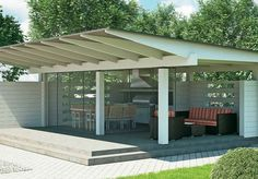 Summer Kitchen, Kitchen Living, Pergola, Cottage, Shades, Outdoor Structures, Outdoor Decor, Inspiration, Image