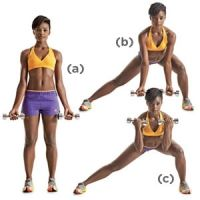 Ab Workout: Side Lunge with Biceps Curl