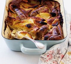Mustard toad in the hole  From BBC Good Food, an English sausage supper casserole