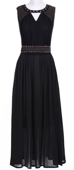 Black Sleevelss Cut Out Rivet Embellished Long Dress #spanish