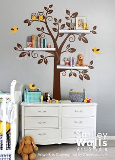 Children Wall Decal Shelf Tree Wall Decal Nursery by smileywalls, $89.00