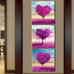 3 Piece Frameless Canvas Purple Wall Art Oil Painting flower   Canvases home decor ideas wall products art panels designs art beautiful living rooms art sets gift decoration ideas awesome cool unique cheap inspirational backgrounds for sale buy online shops website links AuhaShop.com