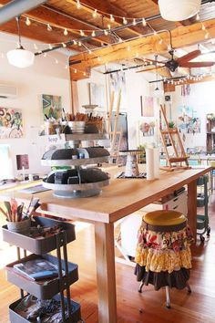 Dream studio space Idea of the lazy susan for my desk space...