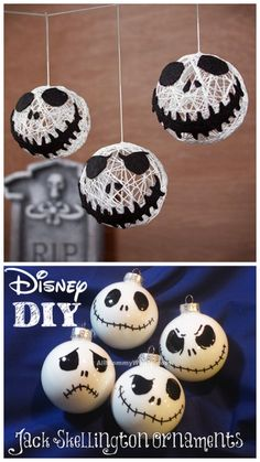 Top Photo: DIY Jack Skellington String Ornaments or Garland Tutorial from Disney. Bottom Photo: DIY Jack Skellington Ornaments Tutorial and template from All Mommy Wants. (via halloweencrafts) Nightmare Before Christmas Ornaments, Diy Christmas Ornaments, Diy Halloween Decorations, Halloween Trees, Halloween Crafts, Halloween Prop, Halloween Witches, Happy Halloween, Craft Ideas