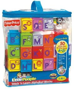 Fisher-Price Little People Builders Stack 'n Learn Block Bag Assortment by Fisher-Price. $32.98. From the Manufacturer                The Little People Stack 'n Learn Alphabet Blocks combines building and learning in one. Set contains 50 total pieces, including 26 alphabet blocks. Each block represents a unique letter of the alphabet along with an illustrated object associated with that letter for alphabet learning fun. Also comes with 23 basic building blocks (16 single...