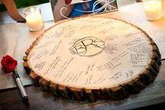 Woodsy Chic Wedding Ideas? :  wedding Tree Slice Guestbook