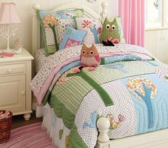 Pottery Barn Kids is my ultimate favorite place to shop for my kids bedding. This is my dream bedding for Ashlynne in the near future--bed skirt in tulle + owls--love it. Obsessed with owls lately!