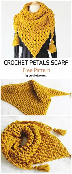 Miss Mary of SwedenMiss Mary of SwedenCrochet Petals Scarf - Free Pattern - Knitting is so easy .Crochet Petals Scarf - Free Pattern - Knitting is as Easy as Poncho Crochet, Mode Crochet, Crochet Scarves, Crochet Clothes, Crochet Stitches, Crochet Roses, How To Crochet A Scarf, Crocheted Scarves Free Patterns, Crochet Triangle Scarf