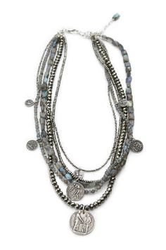 "labradorite and pyrite beads with sterling charms 20"" with 2"" extender"