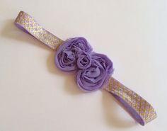 Lavender Shabby Bow on Lavender and Gold Quatrefoil Elastic Headband on Etsy, $5.00