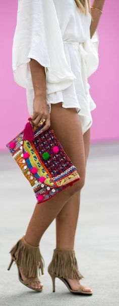 Color Block Boho Clutch