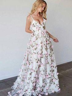3D Flower V Neck Floor Length Prom Dress, V Neck Formal Dress, Graduation Dress #3dflower #3d #whitepromdress #3dflowerpromdress #promdress #dressesforprom #promdress #promdress2018 #prom