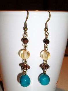 Aqua with Browns  Dangle Earrings by mwadsworth on Etsy, $1.25
