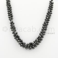 "4.50 to 9.00 mm - 1 Line - #""Black Diamond Drop Beads"" - 11 inches (DiaDrp1016)"