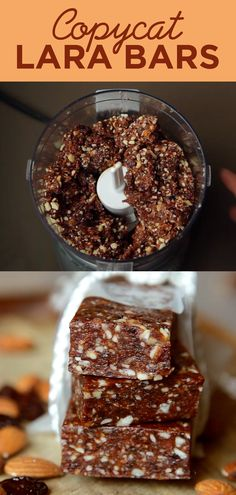 1 cup almonds, 1 cup dried cherries, 1 cup pitted dates ... blend in food chopper until a ball forms, press into parchment lined square pan & then fold over in half onto itself to form thick rectangle... chill 1hr,  cut into bars. YUM!