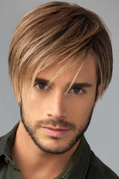 Men's Wigs - Chiseled Men's Wig by HairUWear is designed with free-flowing, longer lengths on top and loosely textured layers on the sides and back. Medium Hair Styles, Curly Hair Styles, Natural Hair Styles, Natural Wigs, Wig Hairstyles, Straight Hairstyles, Hairstyles 2016, Mens Medium Length Hairstyles, Stylish Hairstyles