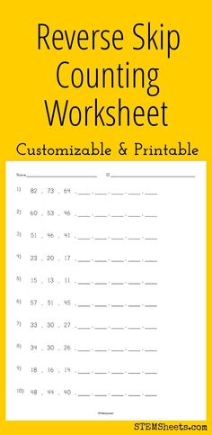 Reverse Skip Counting Worksheet - Customizable and Printable