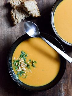 thai butternut squash soup.  Good!  I roasted the squash first for more flavor.  Spicy!