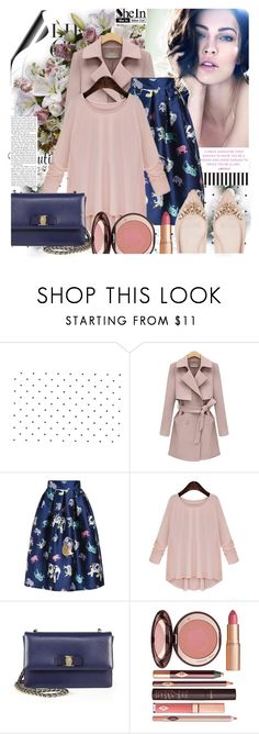 SheIn Pink Round Neck Blouse by prigaut on Polyvore featuring Salvatore Ferragamo, Charlotte Tilbury, Giorgio Armani, shein and PinkRoundNeckBlouse